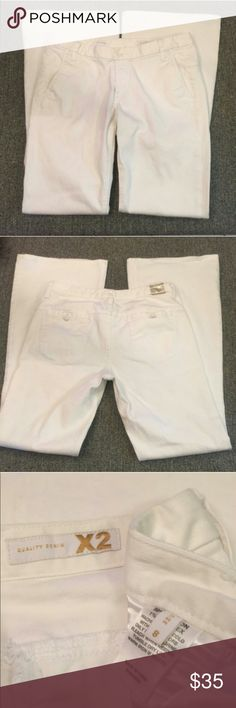 "EXPRESS X2 white jeans EUC, fit&flares slash pocket, button tab,back pockets, perfect cuffs,no wear.Waist=15 3/4"",inseam =32"". Express Jeans Flare & Wide Leg"
