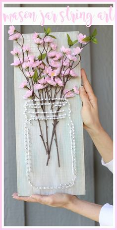 how to make your own mason jar string art - fun spring craft project idea! - Sugar Bee Crafts - Crafting For The Holiday Bee Crafts, Crafts To Make, Wood Crafts, Easy Crafts, Arts And Crafts, Diy Wood, Decor Crafts, Pot Mason, Mason Jar Crafts
