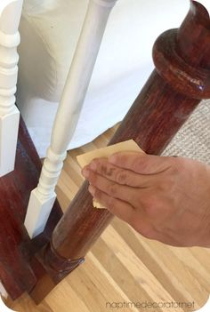 Bye bye Cherry, Helloooo Java: The (EASY! Diy Stair Railing, Stair Banister, Banisters, Staircase Design, Banister Ideas, Basement Stair, Staining Stairs, Banister Remodel, Floor Stain