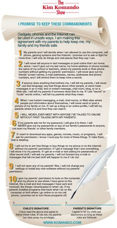 10 Commandments for Kids Online: great guidelines to help parents keep their kids safe.