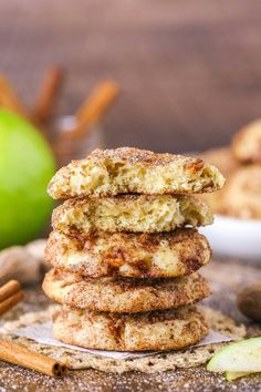These Apple Snickerdoodle Cookies are soft, chewy and full of apple flavor! They have chopped apples in the dough and are rolled in cinnamon and sugar for an irresistible cookie that's perfect for fall! Best Cookie Recipes, Apple Recipes, Baking Recipes, Dessert Recipes, Christmas Cookies Kids, Cookies For Kids, Yummy Treats, Delicious Desserts, Fall Desserts