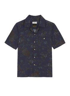 Short Sleeve Shirt   Cuban Collar Black Palm