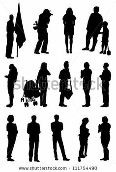 Collection of silhouettes of people - stock vector