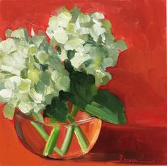 """Daily Paintworks - """"White Hydrangeas"""" - Original Fine Art for Sale - © Martha Lever Easy Painting Projects, Easy Flower Painting, Acrylic Painting Lessons, Flower Art, Art Flowers, Art Projects, Small Canvas Paintings, Mini Paintings, Abstract Paintings"""