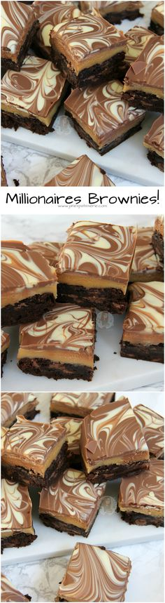 Millionaires Brownies: fudge chocolate chips brownies, easy homemade caramel, swirled milk & white chocolate.