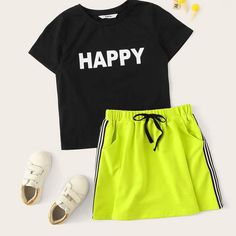 To find out about the Girls Letter Tee & Neon Green Side Striped Skirt Set at SHEIN, part of our latest Girls Two-piece Outfits ready to shop online today! Girls Fashion Clothes, Teen Fashion Outfits, Outfits For Teens, Girl Fashion, Summer Outfits, Camouflage Hoodie, Jugend Mode Outfits, Stripes Fashion, Two Piece Outfit