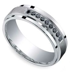 Groom style: The experts at Brilliance Corp bring a touch of dusky sparkle to your gentleman's Big Day wardrobe with the elegant Black Diamond Men's Wedding Band in sleek Silver!  http://www.brilliance.com/wedding-rings/black-diamond-mens-band-silver