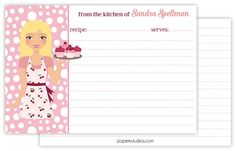 Personalized recipe cards, set of 25 double sided 4x6 recipe cards for bridal showers or housewarming gift - blonde hair by PaperKStudios on Etsy