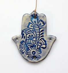 Wall Hanging Hamsa Hanging Hamsa Home Decor by handpaintedceramic