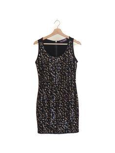Mini dress, sequins, leopard, night, bodycon Vestido corto, lentejuelas, leopardo, noche