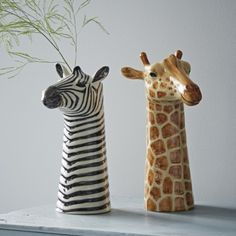 zebra and giraffe vases (trouva)