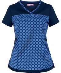 Koi Scrubs Honeycomb Print Top