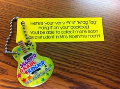 Beginning of the Year Brag Tag poem