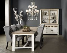 Nice country styled dining room table and cabinet. Country Living, Country Style, Dining Room Table, Dining Bench, Parma, Brown And Grey, Cabinet, Furniture, Home Decor