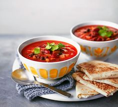 A low-fat, vegetarian midweek meal, this hearty soup with cheesy tortillas makes for a moreish combination Bbc Good Food Recipes, Veggie Recipes, Soup Recipes, Vegetarian Recipes, Cooking Recipes, Healthy Recipes, Freezer Recipes, Healthy Dishes, Veggie Food
