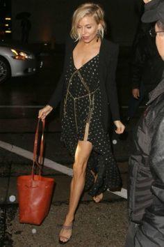 Sienna Miller wearing Chlo Embellished Herringbone Silkblend Dress and Mansur Gavriel Bucket Bag