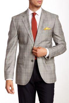 HUGO BOSS   The James Dark Brown Glenplaid Two Button Notch Lapel Wool Blend Blazer   Nordstrom Rack