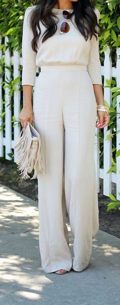 nude jumpsuit and fringe bag goodness - idea for Britt Cream Jumpsuit, Cream Pants, White Jumpsuit, Elegant Jumpsuit, Tailored Jumpsuit, Pant Jumpsuit, Casual Jumpsuit, Jumpsuit Outfit, Cream Dress Outfit