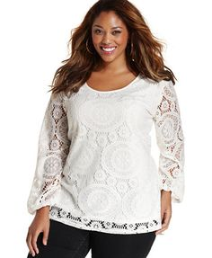 ING Trendy Plus Size Long-Sleeve Lace Top | macys.com