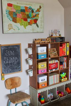 Rustic Living: our kids playroom reveal  obsessed with this room.... love the scalloped toy storage at the bottom... need something like that!