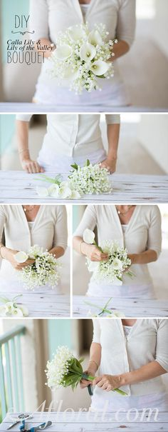 "DIY Bouquet Ideas from <a href=""http://Afloral.com"" rel=""nofollow"" target=""_blank"">Afloral.com</a>.  Create an elegant bridal bouquet with two pre-made bouquets.  Unwrap the bouquets.  Loosely hold the Calla Lily bouquet in your hand.  Begin inserting Lily of the Valley stems thorughout the Calla Lily bouquet until you are happy with the look.  Wrap the stems with floral tape to secure and cover the stems in a bouquet wrap.  You have now created your very own bridal bouquet and with silk flowers it will last for years after your wedding day."
