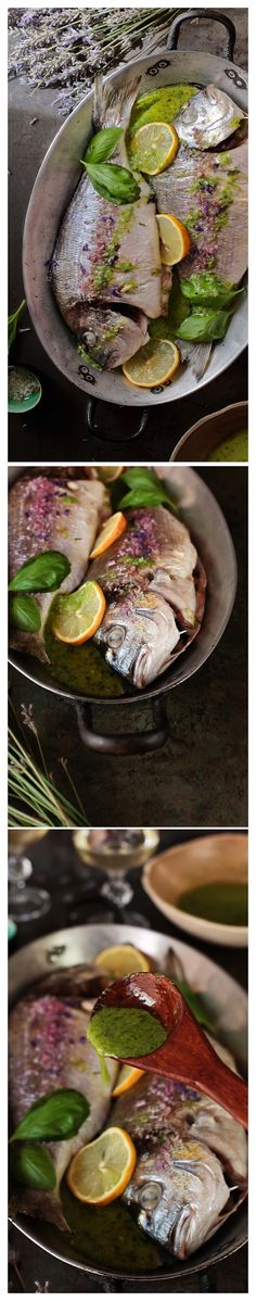 doradas al horno con salsa de albahaca y limón Walleye Fish Recipes, Easy Fish Recipes, Seafood Recipes, Paleo Recipes, Gefilte Fish Recipe, Ono Fish Recipe, Parmesan Fish Recipe, Fluke Recipe, Gastronomia