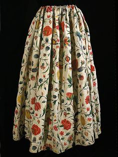 French crewel embroidered linen skirt, c.1790. Includes extensive written provenance