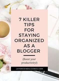 Staying organized as a blogger is key to productivity! If you want to check important things off your to-do list and learn some awesome time management tips, this post is for you! It's all about balance, and when you have to juggle between writing blog posts, taking photos, email marketing, social media and more, organization is key! From creating an editorial calendar, to planning ahead in an agenda, click through to read my best tips for keeping organized as a blogger, and save this pin…