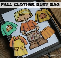 Practice dressing up with fall clothes with this dress up busy bag for little children.