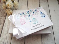 Birdcage personalised wedding guest book