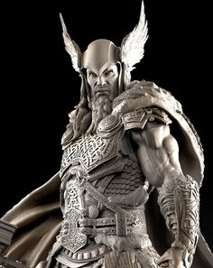 [image] Title: - Thor - Name: David Molina Country: Colombia Software: ZBrush Maya Submitted: February 2016 A Private Commission i did last year. The idea on the concept is that the Helmet and Hammer were th… Viking Art, Viking Warrior, Vikings, Armadura Viking, Fantasy Warrior, Fantasy Art, Sculpture Clay, Sculptures, Celtic Warriors