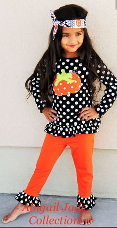7eb72940effba Boutique Pumpkin Polka Dot Infant Toddler Outfit Abigail Jade Collection   Boutique  DressyEverydayHoliday Girls Fall