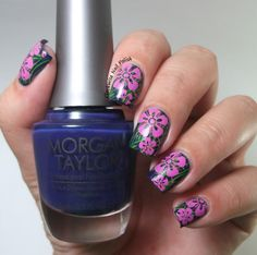 The Clockwise Nail Polish: Morgan Taylor Super Ultra Violet & Double Stamped Flowers