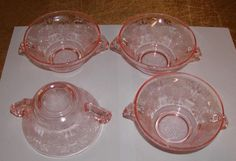 4 HAZEL ATLAS DEPRESSION GLASS PINK FLORENTINE POPPY 2 CREAM SOUP BOWLS #HazelAtlas