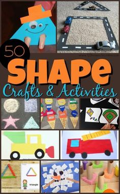 50 EPIC Shape Crafts and Activities - so many fun, creative ways for kids to practice identifying shapes while having fun! Fun Math, Learning Activities, Preschool Activities, Preschool Kindergarten, Shape Activities, Preschool Shapes, Math Games, Maths, Toddler Crafts
