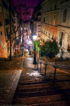 Steps in Montmartre, Paris - looks like a fantastic banister-sliding experience!
