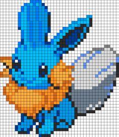 Eevee And Mudkip Fusion Perler Bead Pattern / Bead Sprite Fuse Bead Patterns, Kandi Patterns, Perler Patterns, Cross Stitch Patterns, Pixel Art Templates, Perler Bead Templates, Pokemon Cross Stitch, Modele Pixel Art, Crochet Pokemon