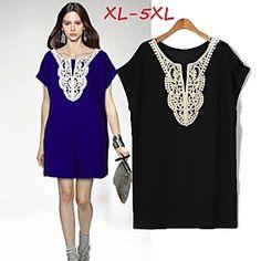 #Women's Lace Blue/Black Plus Size  Dresses , Casual/#Party Round Short Sleeve