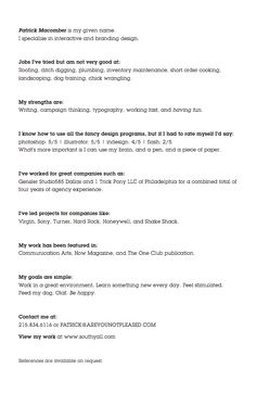 not your average resume... very creatively written resume
