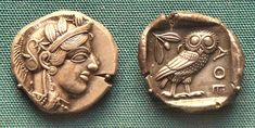 Coin from ancient Athens depicting the goddess Athena. The Athenian owl (another symbol of Athena) on the opposite side.
