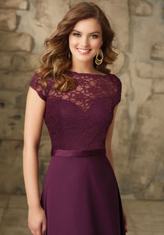 Bridesmaid Dresses and Gowns by Morilee designed by Madeline Gardner. Satin and Chiffon With Illusion Neckline Bridesmaid Dress