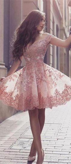 Lace Homecoming Dresses,Modest Homecoming Dress,Homecoming Dresses For Teens,Pink Homecoming Dresses,Short Homecoming Dresses DR0113