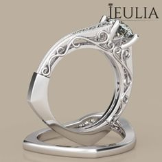 360 View of Milgrain Round Cut Created White Sapphire Rhodium Plating Sterling Silver Women's Ring