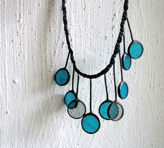 Unique handcrafted jewelry - Turquoise gray circle necklace - stained glass and patinated cooper