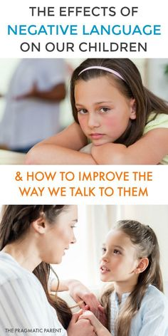 Negative language impacts children; it creates confusion & makes children feel discouraged they can\'t do anything right, and also harbors low self-esteem in kids. Negative wording is hard for children to understand because they don't know what you want them to stop doing and what to do instead. The solution? Using positive language. #positiveparenting #positivehome #effectsofnegativelanguage #usingpositiivelanguage #respondinsteadofreact =