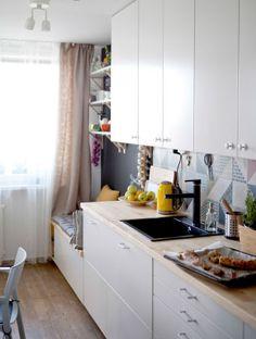 Os armários de cozinha METOD podem ser instalados do chão até ao teto, para um máximo de opções de arrumação