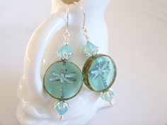 Picasso Blue Opal Turquoise Wash Czech Glass Dragonfly Earrings - Item E2290 by Joannsfortheluvofit on Etsy