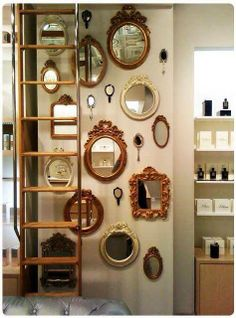 7 Eye-Opening Tips: Wall Mirror Bathroom Floating Shelves wall mirror entry ways small spaces.Wall Mirror Entryway Design whole wall mirror spaces.Wall Mirror With Shelf Shelves. Cool Mirrors, Small Mirrors, Mirror Mirror, Mirror Collage, Wall Of Mirrors, Mirror Ideas, Mirror Bedroom, Mirror Hanging, Ornate Mirror