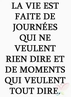 La vie est faite de journées qui ne veulent rien dire et de moment qui veulent tout dire / Life is made of the day when nothing to say and the moment when the need to say everything French Words, French Quotes, Words Quotes, Life Quotes, Sayings, Favorite Quotes, Best Quotes, Positiv Quotes, Some Words