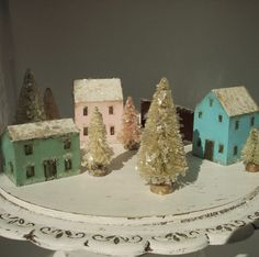 Handmade Christmas Village Vintage Style Wood by marysworkshop